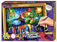 "Набор для творчества Картина по номерам с рамкой 12 цветов ""Мост через реку"""