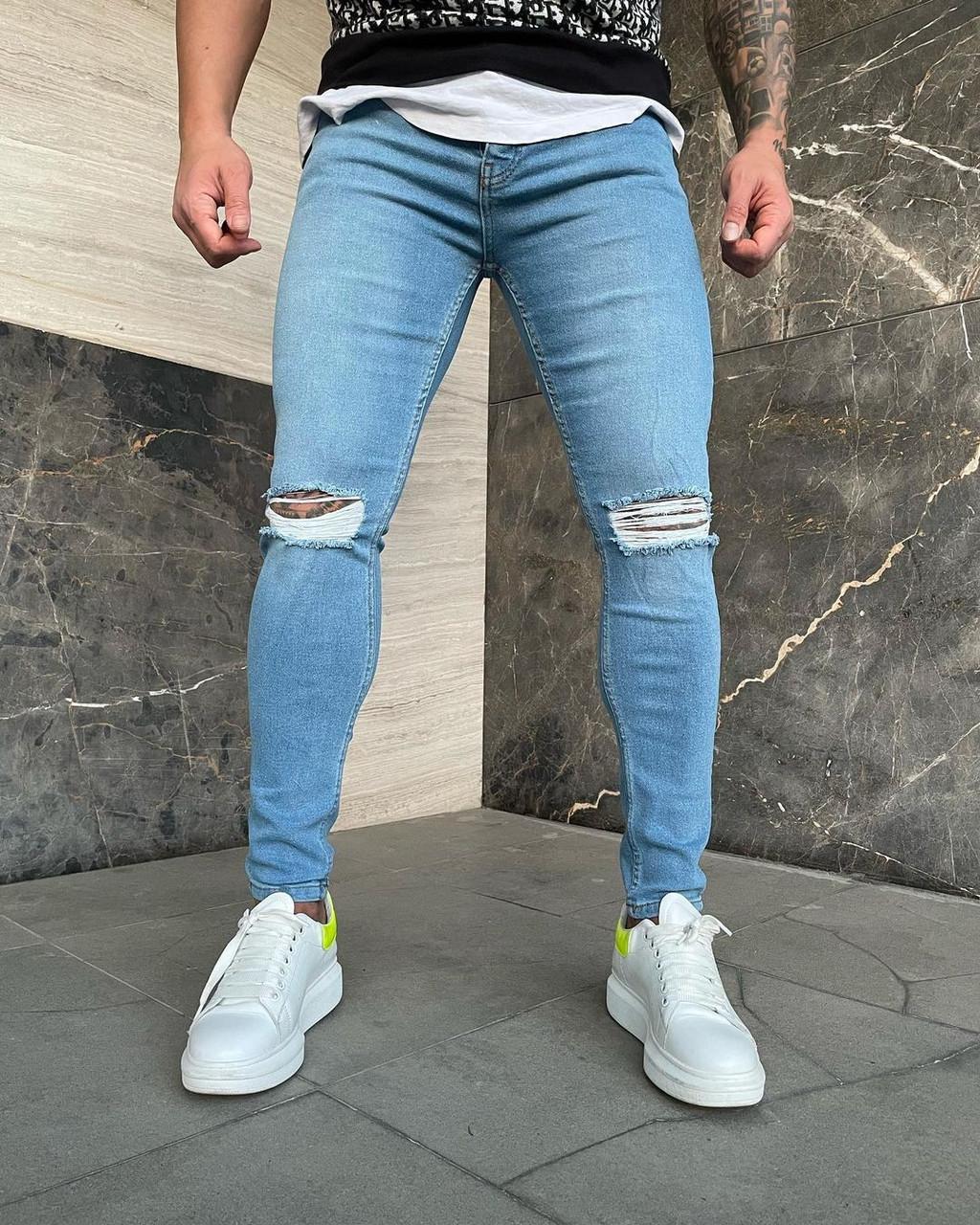 Мужские джинсы рваные голубые