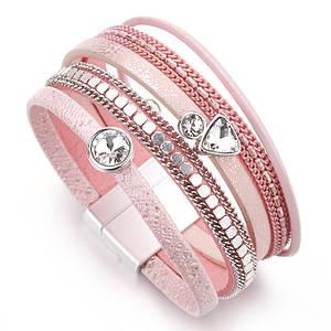 Женский многослойный кожаный браслет с камнями ALLYES розовый