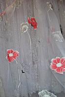 Тюль Цветок красный