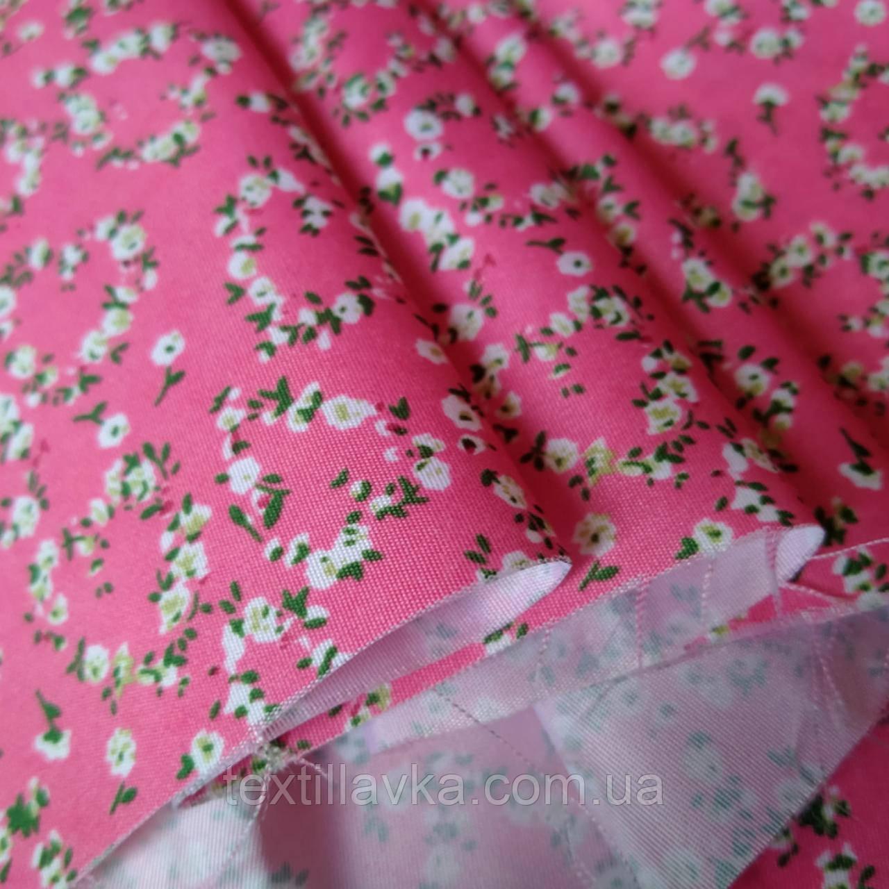 Клапоть тканини для лялькового одягу плащова квіточки дрібні