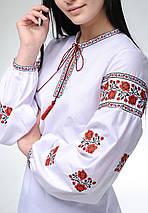 Женская вышитая блуза с длинным рукавом с цветочным орнаментом «Розочки», фото 3