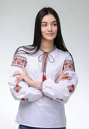 Женская вышитая блуза с длинным рукавом с цветочным орнаментом «Розочки», фото 2