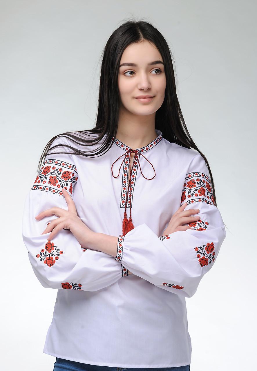 Женская вышитая блуза с длинным рукавом с цветочным орнаментом «Розочки»