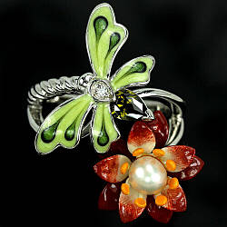 Серебряное кольцо с жемчугом белым, 2685КЦЖ