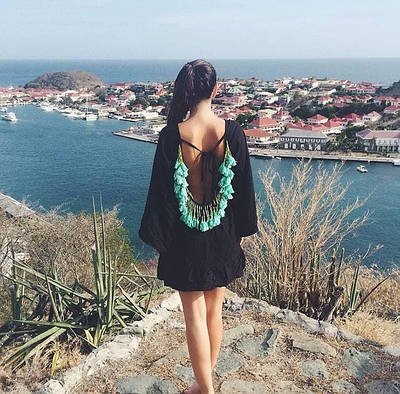 Женский пляжный сарафан-туника с декором Sunny link black