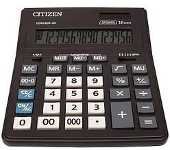 Калькулятор Citizen CDB1601-BK; настольный, 16-разрядный, литиевая + солнечная батарея (двойное), 205 х 155 x