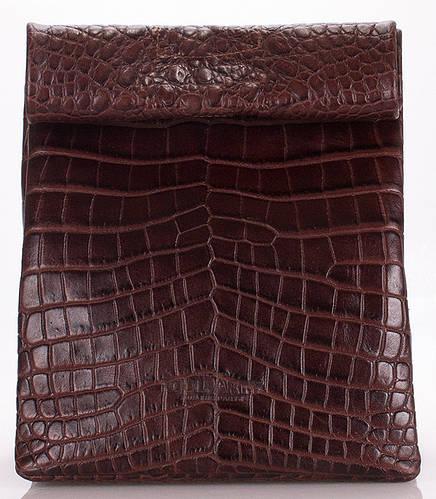 Сумка-клатч кожаная под кожу рептилии POOLPARTY LUNCHBOX aligator-lunchbox-brown коричневая