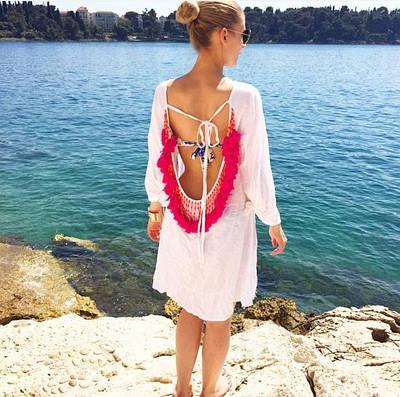 Женский пляжный сарафан-туника с декором Sunny link white
