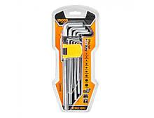 Набор ключей шестигранных удлиненных 9 шт 1.5-10 мм INGCO