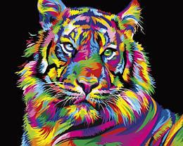Картина по номерам VP1344 Радужный тигр, 40x50 см., Babylon