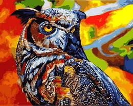 Картина по номерам VP1347 Радужная сова, 40x50 см., Babylon