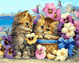 Картина по номерам VP1349 Котята в цветах, 40x50 см., Babylon