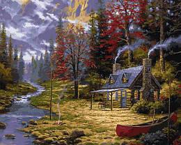 Картина по номерам VP1350 Домик у реки, 40x50 см., Babylon