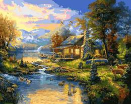 Картина по номерам VP1355 Дом у озера, 40x50 см., Babylon