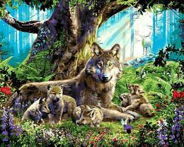 Картина по номерам VP1358 Волчица с волками, 40x50 см., Babylon