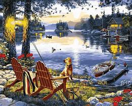 Картина по номерам Q2251 Рыбалка с собакой, 40x50 см., Mariposa