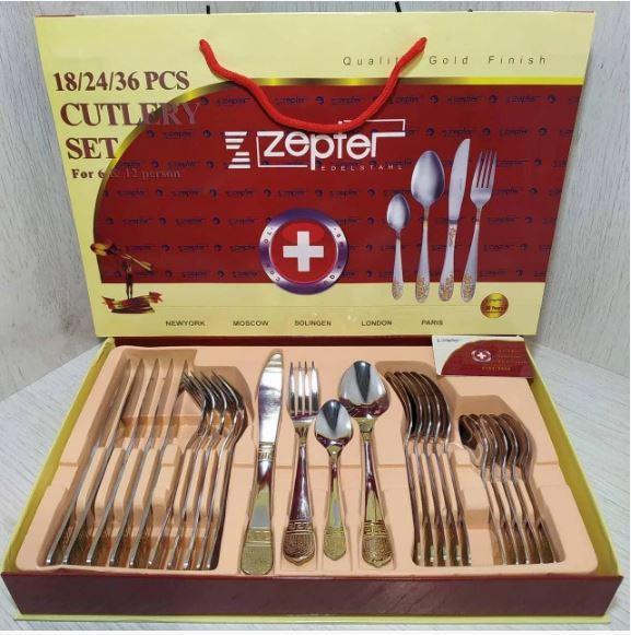Набор столовых приборов ZEPTER (2833-12)  24 предмета с позолотой