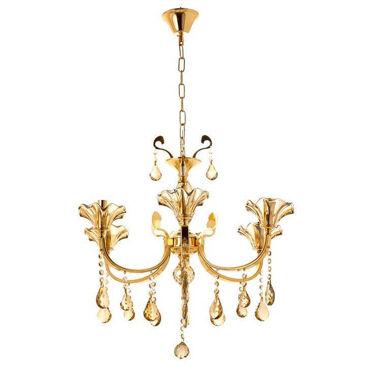 Люстра класична з медовими плафонами SLAVIA OU003/6/gold