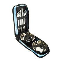Туристический набор посуды в сумке на 2 персоны, набор посуды для пикника из нержавеющей стали