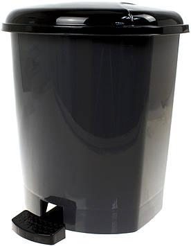 Відро 9л для сміття з кришкою та педалькою,сіре,263х263х300мм №GR-02062/Горизонт/
