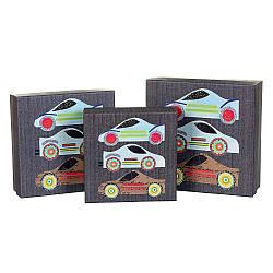 Набір з 3-х подарункових коробок Гонки 21х21х8 см 18131-006