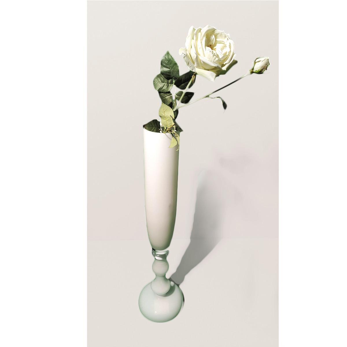 Ваза стекло Мурано Adriani Rossi Frida 20x80 см белая (32506)
