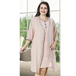 Комплект халат и ночная рубашка  2XL-4XL  хлопковая, батал, розовый Seyko