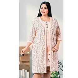 Комплект халат и ночная рубашка  2XL-4XL хлопковая батал, розовый Seyko
