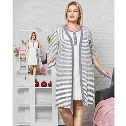 Одежда для сна женская 2XL-3XL-4XL хлопковая с халатом батал Seyko