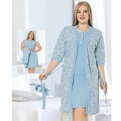 Комплект халат и ночная рубашка 2XL-4XL хлопковая, батал, голубой