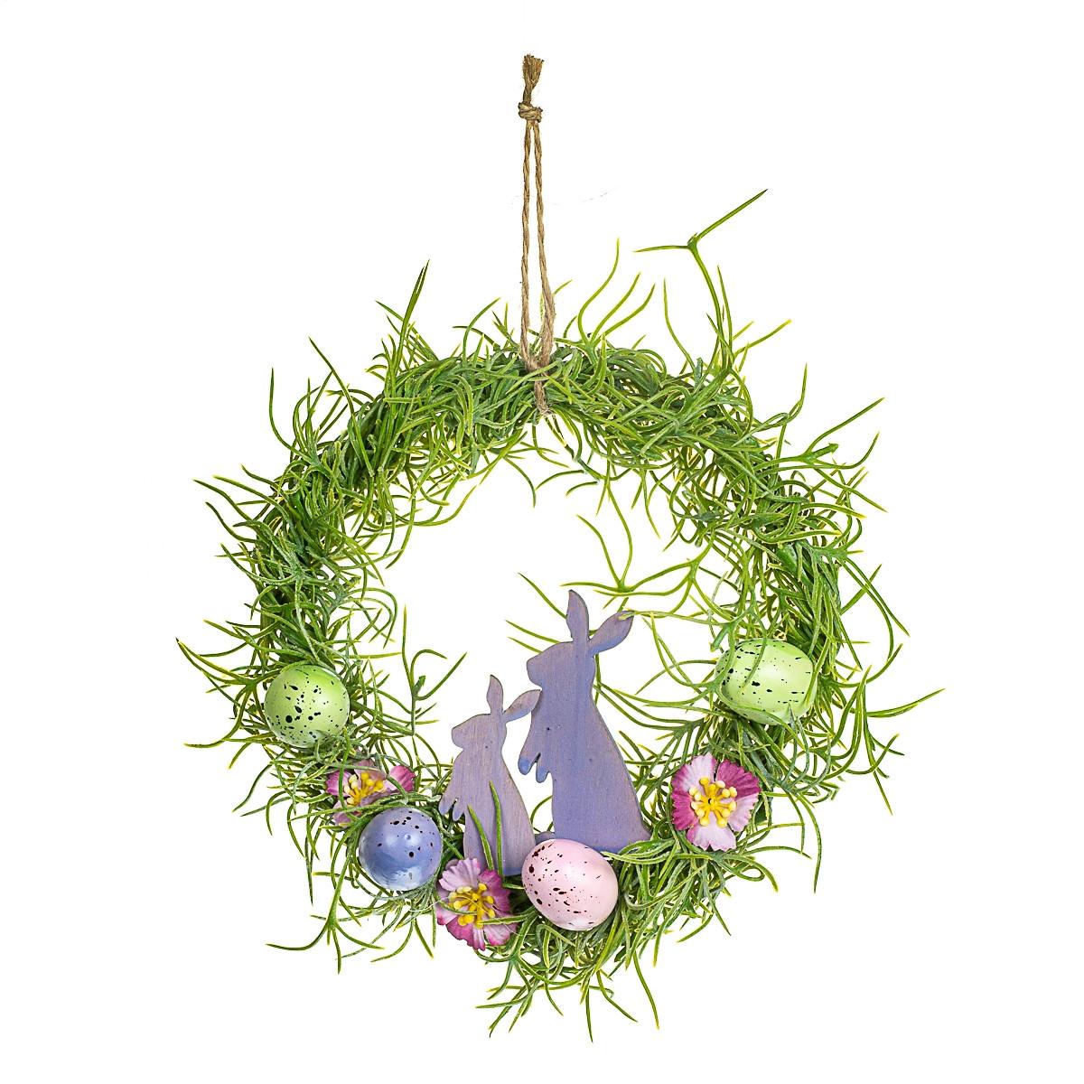 Пасхальный венок для декора Кролики 15х24 см 12010-050