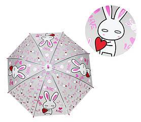 Парасолька дитячий MK 4115-1 Зайчик (Pink) длина66см,трость60см,диам75см,спица48см, клейонка, в кульку