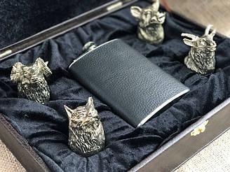 Набор бронзовых чарок Nb Art Охотничьи 4 штуки с флягой  480016