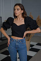 Черная блуза с рукавами-фонариками