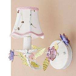 Бра белое с абажуром и цветочным декором SLAVIA SA019/1
