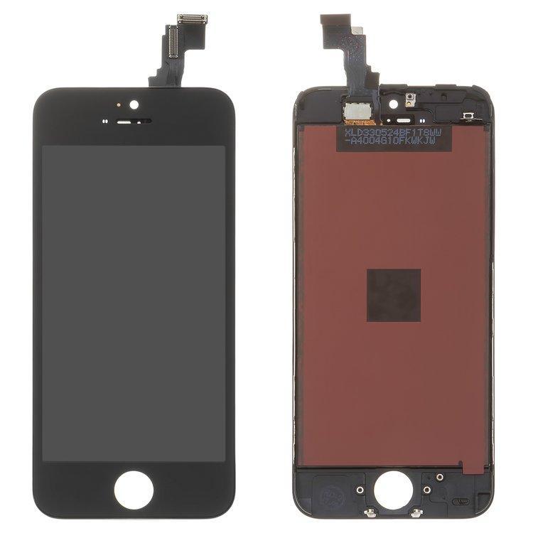Дисплей для Apple iPhone 5C з тачскріном, чорний, оригінал (Factory Refurbished)