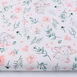 """Лоскут ткани """"Слоники с пудровыми цветочками"""" на белом,  №2849, размер 42*80 см, фото 2"""