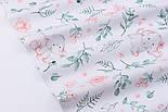 """Лоскут ткани """"Слоники с пудровыми цветочками"""" на белом,  №2849, размер 42*80 см, фото 6"""
