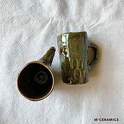 Маленькие парные чашки для кофе ручной работы керамические зелёные
