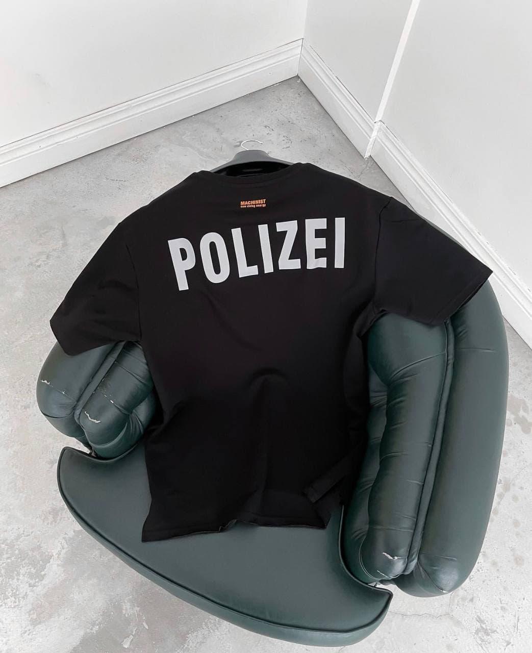 Мужская футболка оверсайз черная Polizei