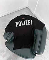 Мужская футболка оверсайз черная Polizei, фото 1