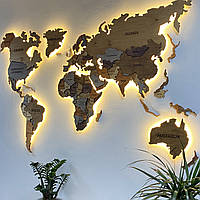 Карта Мира 3D с подсветкой, гравировкой названий стран и границ, многоуровневая карта Мира XXL-250x150 см