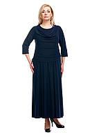 Женское нарядное платье большого размера темно синее  1605019/6