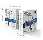 ОПТ Кільцева світлодіодна селфи лампа Multi-Position Fill Light Live Broadcasting для двох телефонів, фото 2
