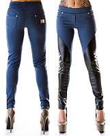 Сногсшибательные женские лосины дайвинг с имитацией джинса со вставками экокожа