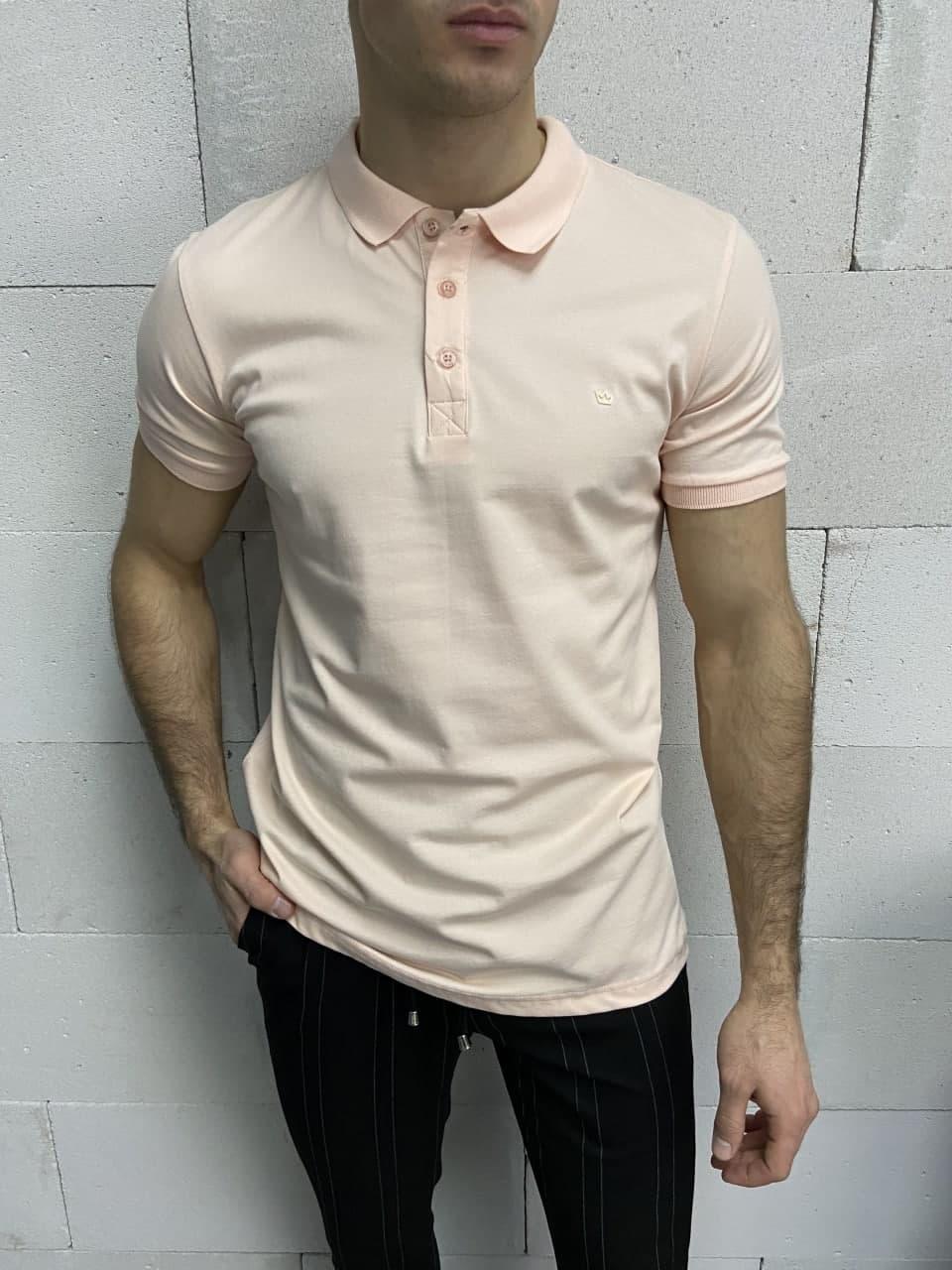 Мужская футболка-поло светло-розовая Crown