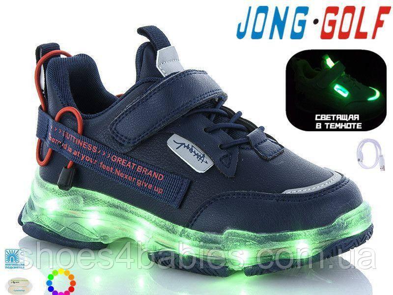 Кроссовки детские со светящейся подошвой и зарядкой р. 33 - 36 синие