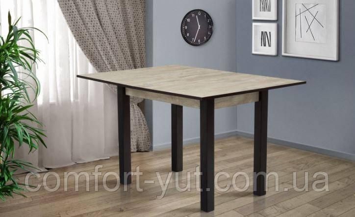 Стол кухонный раскладной обеденный Прага  дуб шервуд - венге 90*60(120)*75см