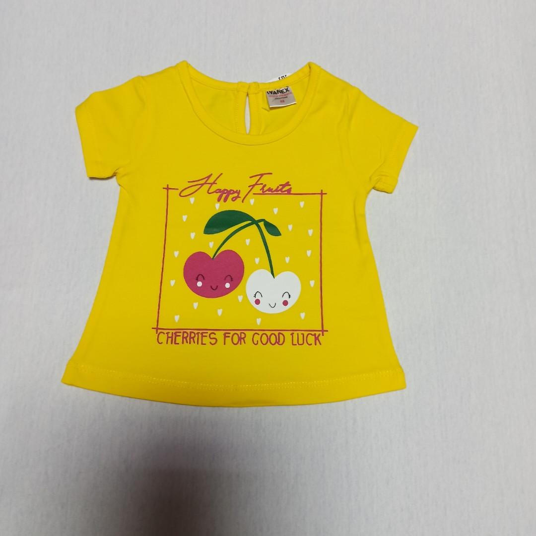 Футболка модная красивая нарядная оригинальная жёлтого цвета для девочки. 80